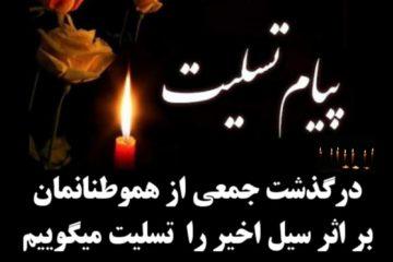 پیام تسلیت مدیرعامل منطقه ویژه اقتصادی پارسیان به مناسبت درگذشت همشهریان پارسیانی بر اثر سیلاب